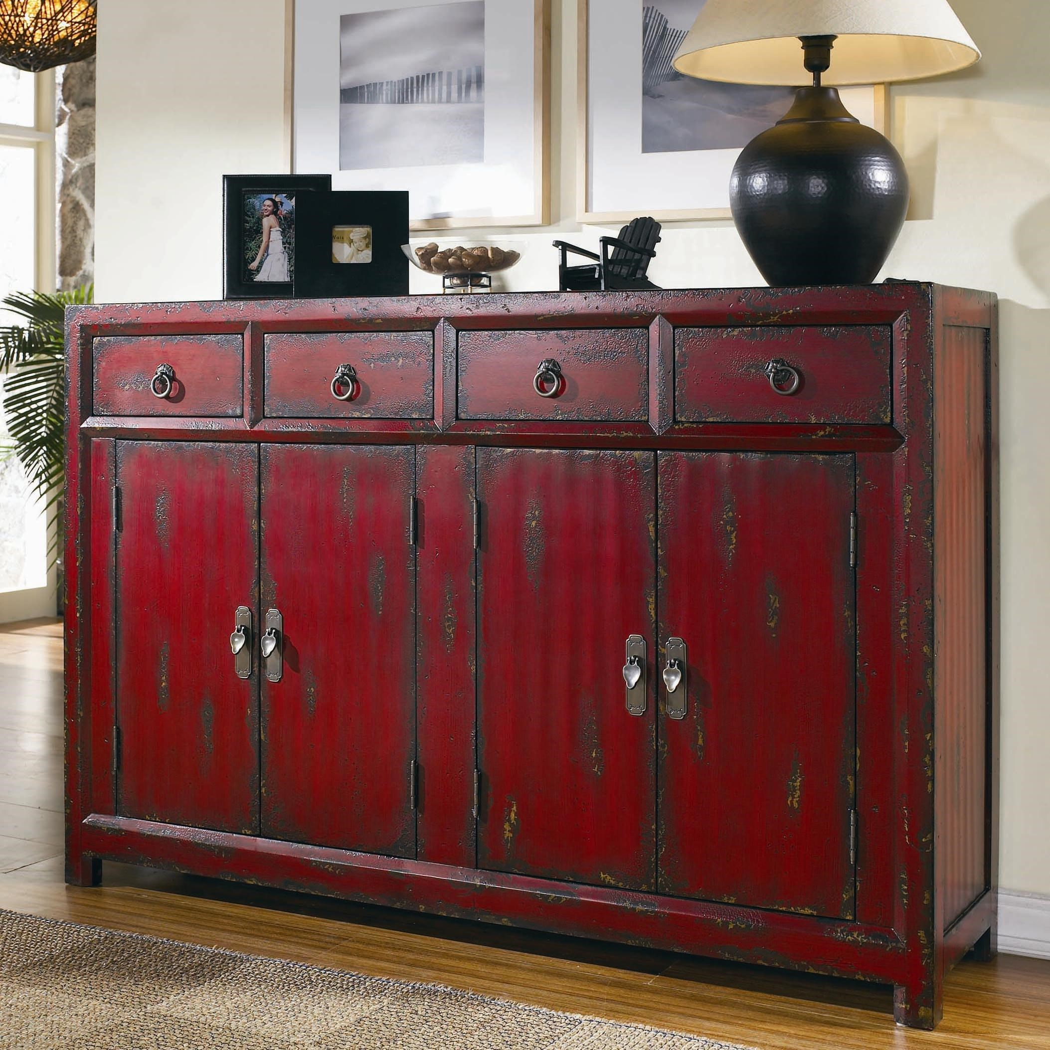 Beau Hooker Furniture Chests And ConsolesRed Asian Cabinet ...
