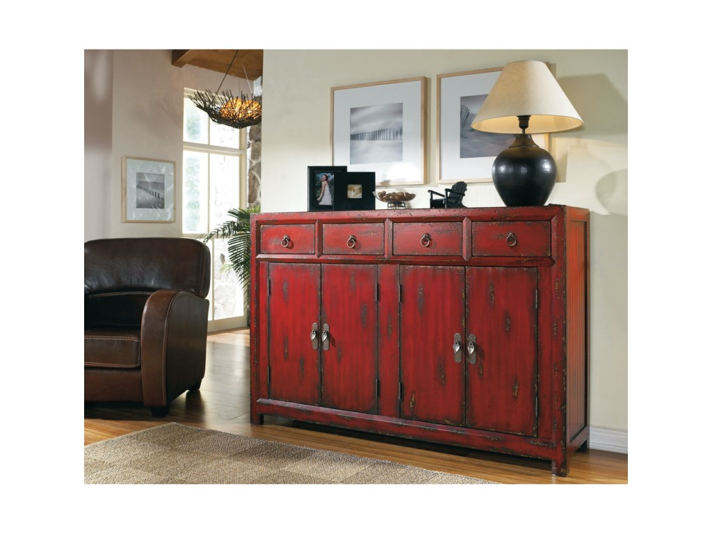 Hooker Furniture Chests and ConsolesRed Asian Cabinet