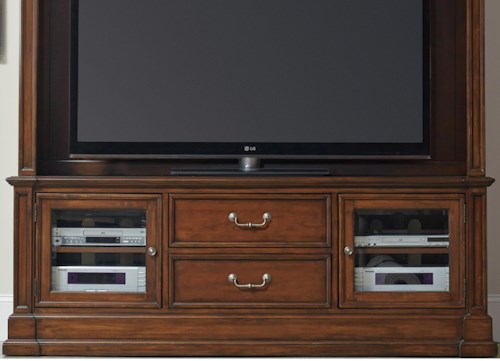 Hooker Furniture Clermont Entertainment Console with 2 Beveled Glass Doors