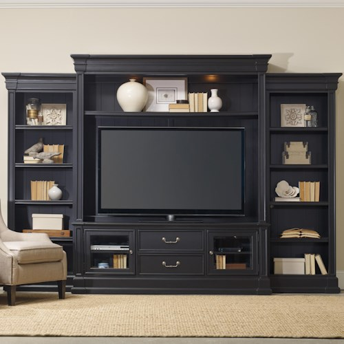 Hooker Furniture Clermont Four Piece Entertainment Group with 2 Drawers
