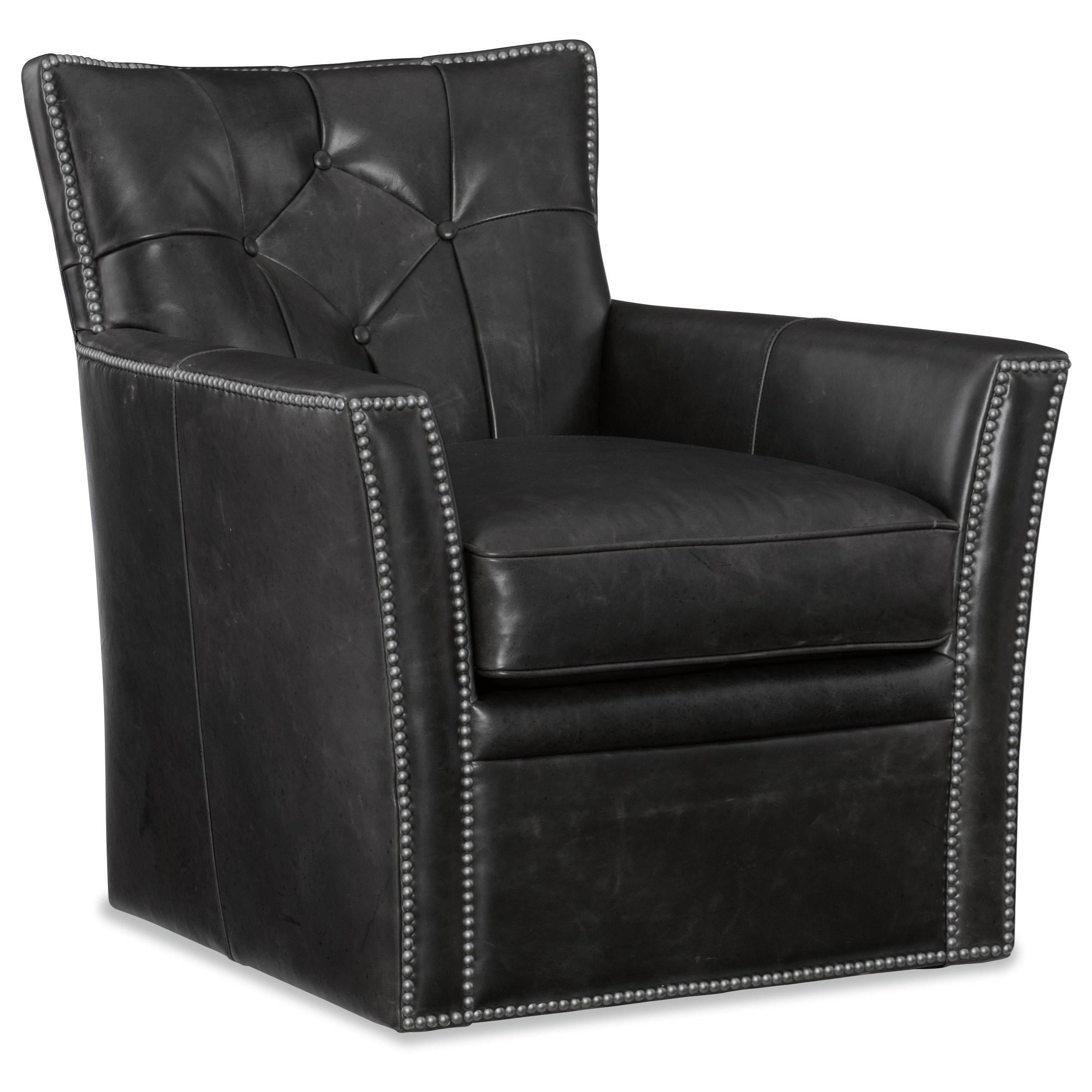 Transitional Leather Swivel Club Chair with Tufted Back and Nailheads