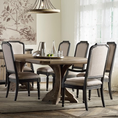 Hooker Furniture Corsica Rectangle Pedestal Dining Table Set with Upholstered Chairs