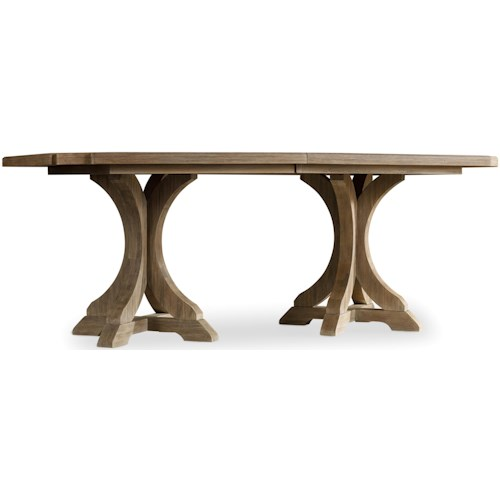 Hooker Furniture Corsica Rectangle Pedestal Dining Table with 2 20 Inch Leaves