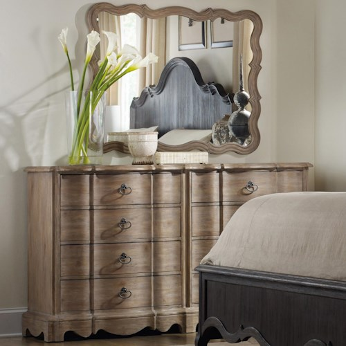 Hooker Furniture Corsica Dresser with 8 Drawers and Mirror with Serpentine Frame