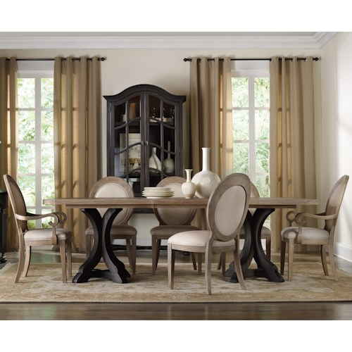 Hamilton Home Corsica Rectangle Pedestal Dining Table Set with Oval Back Chairs