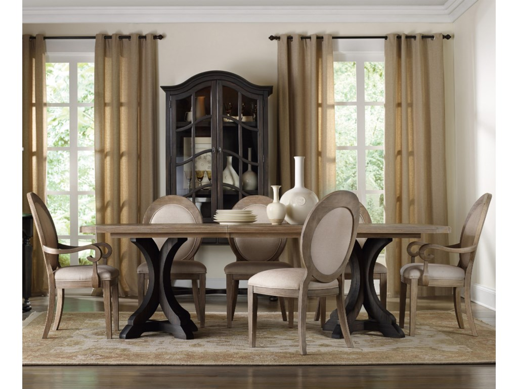 Hooker Furniture CorsicaRectangle Pedestal Dining Table Set
