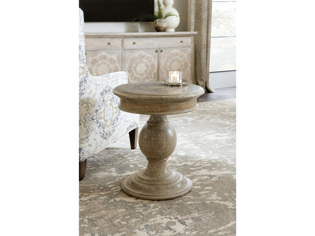 Hooker Furniture DahliaRound Pedestal End Table