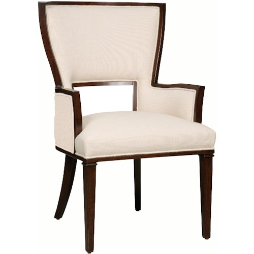 Hamilton Home Decorator Chairs Contemporary Dining Arm Chair with Pierced Backrest and Accent Outside Fabric