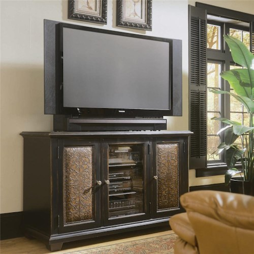 Hooker Furniture Decorator Group Plasma Console - Black W/Leather