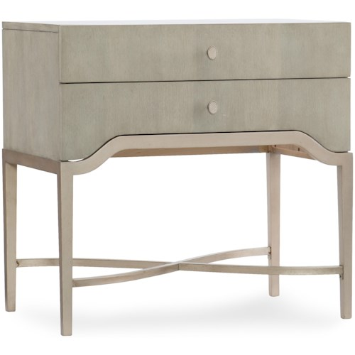 Hooker Furniture Elixir Two-Drawer Nightstand With Metal Base