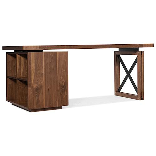 Hooker Furniture Elon Single Pedestal Desk with Bookcase Base
