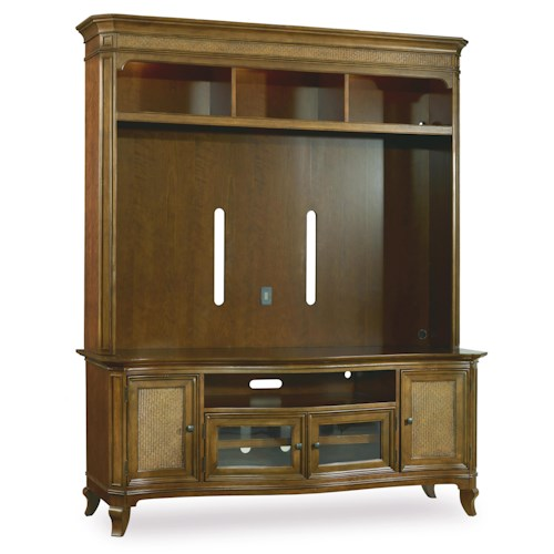 Hooker Furniture Windward Two Piece Entertainment Group with Raffia Door Fronts