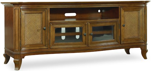 Hamilton Home Windward Entertainment Console with Raffia Door Fronts