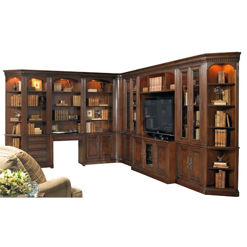 Hooker Furniture European Renaissance II 11-Piece Entertainment and Office Corner Wall Unit