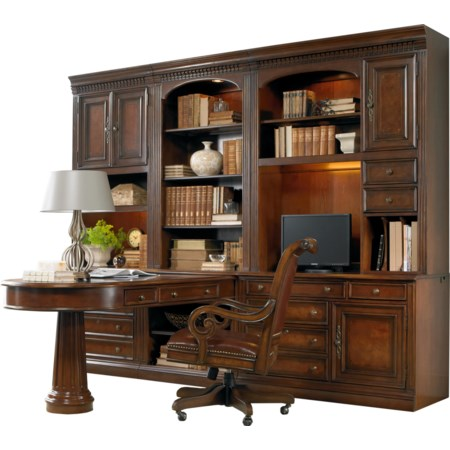 Office Wall Unit with Peninsula Desk