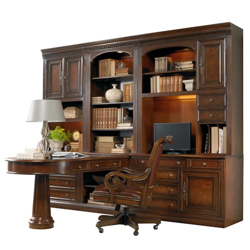 Hooker Furniture European Renaissance II Office Wall Unit with Peninsula Desk, Computer Credenza and Wall Storage Cabinet