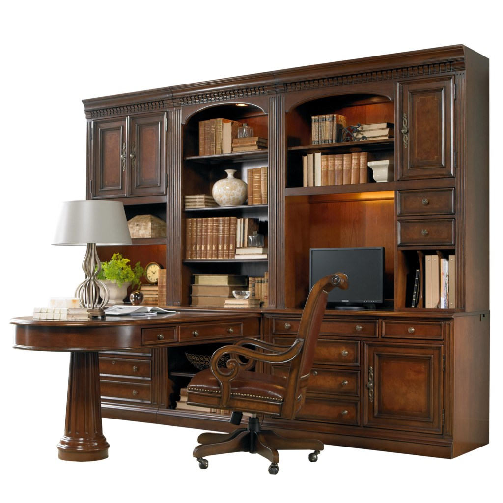 Hooker furniture european renaissance ii office wall unit with peninsula desk computer credenza and wall storage cabinet