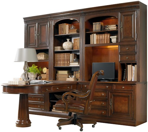 Hamilton Home European Renaissance II Office Wall Unit with Peninsula Desk, Computer Credenza and Wall Storage Cabinet