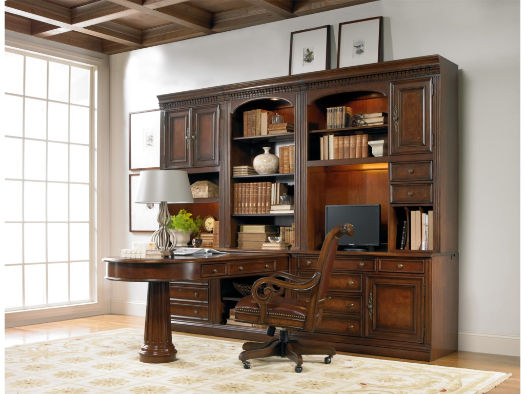Hooker Furniture European Renaissance IIOffice Wall Unit with Peninsula Desk