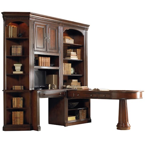 Hamilton Home European Renaissance II Office Wall Unit with Dual Access Peninsula Desk, Wall Desk and Display Hutches