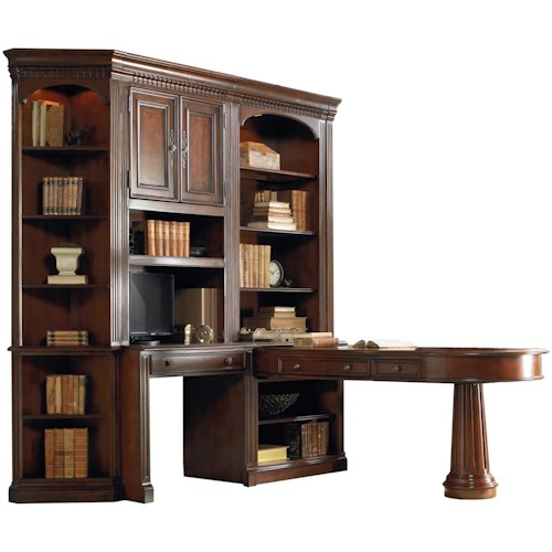 Hooker Furniture European Renaissance II Office Wall Unit with Dual Access Peninsula Desk, Wall Desk and Display Hutches