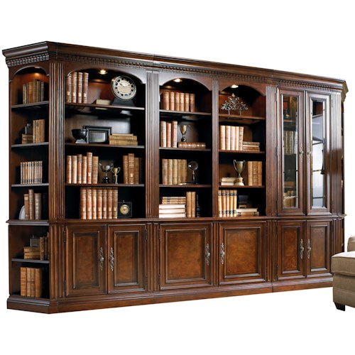 Hooker Furniture European Renaissance II Five-Piece Library Wall Unit with Touch Lighting and Adjustable Shelves