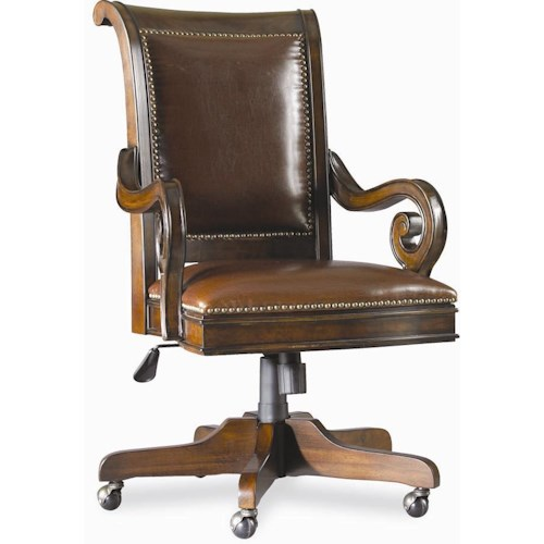Hamilton Home European Renaissance II Executive Swivel Chair with Scrolled Arms and Five-Point Caster Base