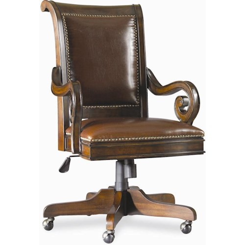 Hooker Furniture European Renaissance II Executive Swivel Chair with Scrolled Arms and Five-Point Caster Base