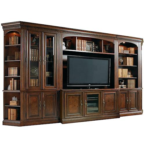 Hooker Furniture European Renaissance II Six-Piece Entertainment Library Wall