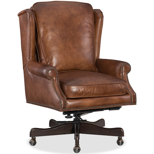 Hooker Furniture Finnian Leather Home Office Chair with Nailhead Trim
