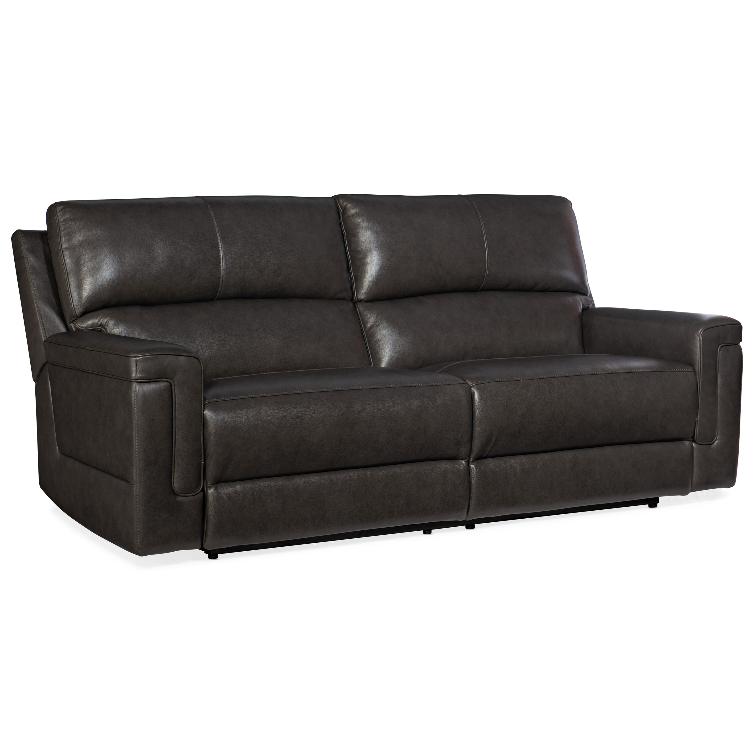 Casual Contemporary Power Reclining Leather Sofa with Power Headrests