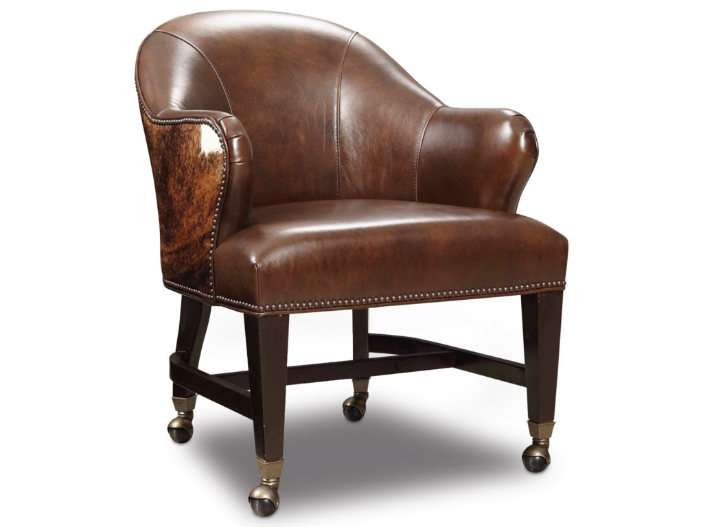 Hooker furniture game chairs gc101 186 leather hair on hide queen game chair with casters dunk bright furniture dining chairs with casters