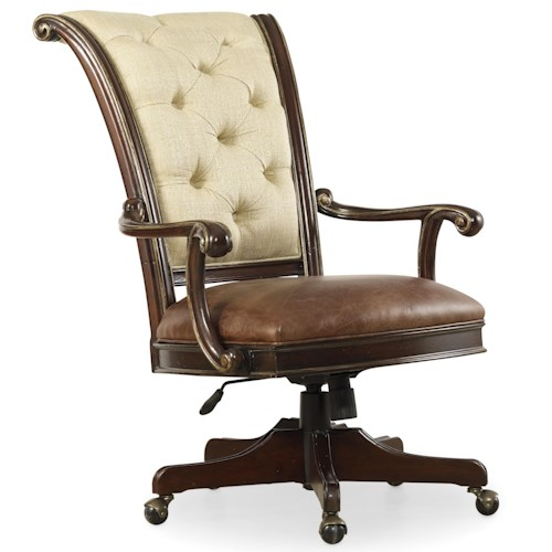 Hooker Furniture Grand Palais Tilt Swivel Chair with Tufted Back