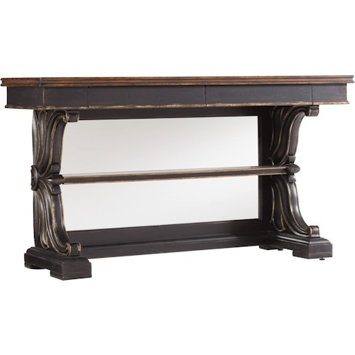 Hooker Furniture Grandover Mirrored Back Console Table with Two Hidden Drawers & One Fixed Shelf