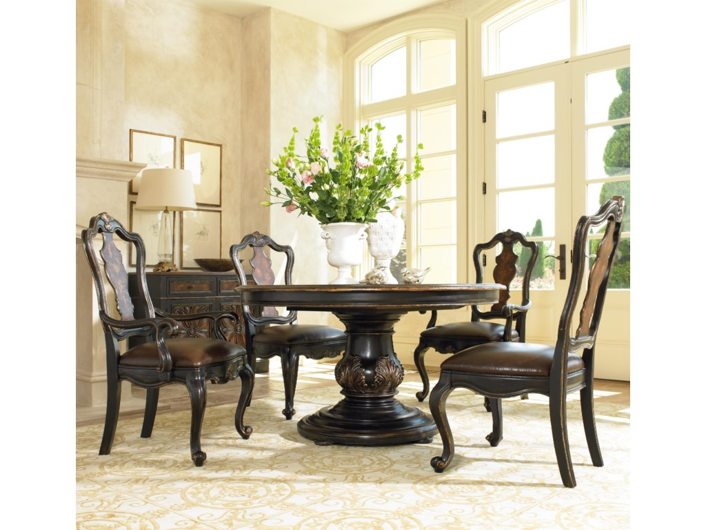 Shown with Pedestal Dining Table and Splatback Arm & Side Chairs