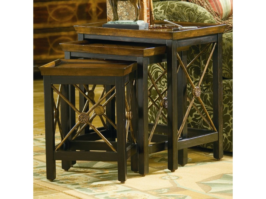 Hooker Furniture Seven Seas 3 Piece Nesting Table With Medallion Motif Wayside Furniture End Tables