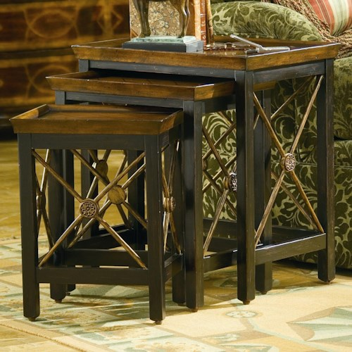 Hooker Furniture Seven Seas 3 Piece Nesting Table with Medallion Motif