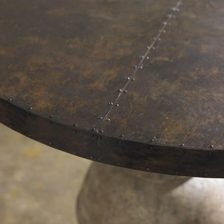 The Brass Tabletop Features a Beautiful Nailhead Trim