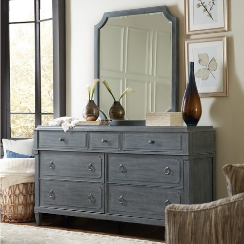 Hooker Furniture Hamilton Transitional Seven-Drawer Dresser & Mirror in Gray Finish