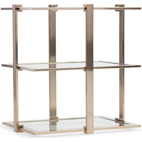 Hooker Furniture Highland Park Rectangle Accent Table with Glass Shelves