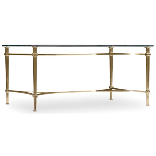 Hooker Furniture Highland Park Rectangle Cocktail Table with Glass Table Top