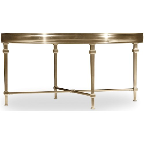 Hooker Furniture Highland Park Round Cocktail Table with Glass Table Top
