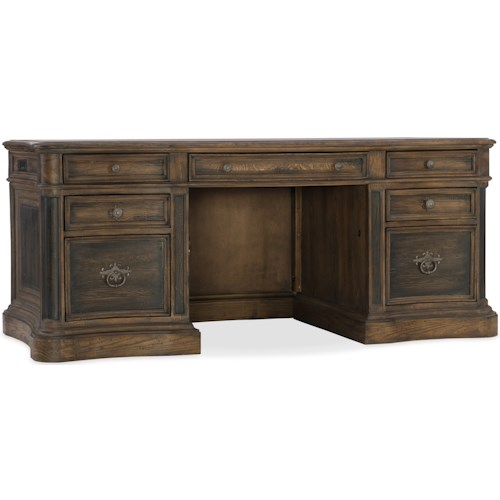 Hooker Furniture Hill Country St. Hedwig Executive Desk with Locking File Drawer
