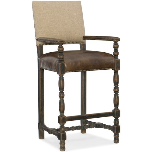 Hooker Furniture Hill Country Comfort Barstool with Leather Seat