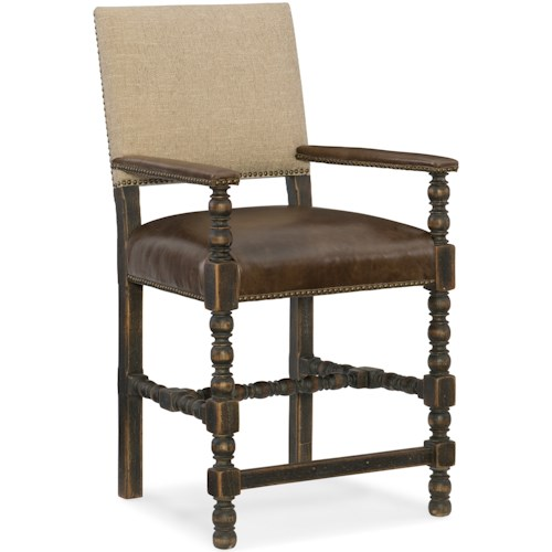 Hooker Furniture Hill Country Comfort Counter Stool with Leather Seat