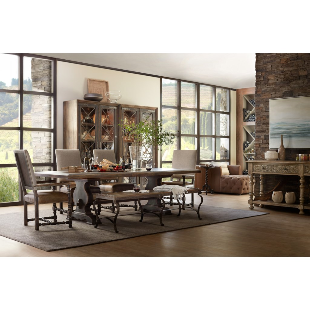 hooker furniture hill country bandera 86in table trestle table hooker furniture hill country 5960 75200 brn bandera 86in table trestle table with 2 18in leaves