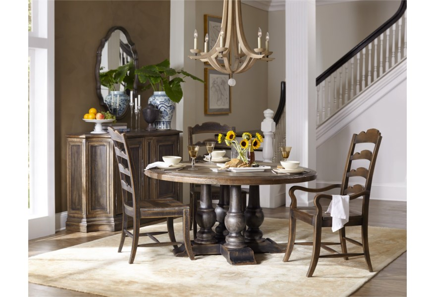 Hooker Furniture Hill Country Applewhite 60in Round Pedestal Dining Table Belfort Furniture Dining Tables