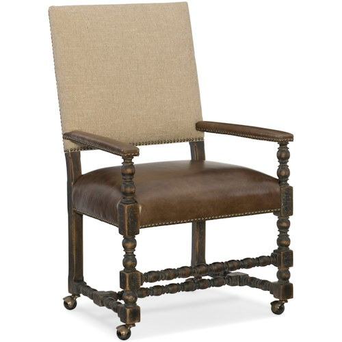 Hooker Furniture Hill Country Comfort Castered Game Chair with Leather Seat