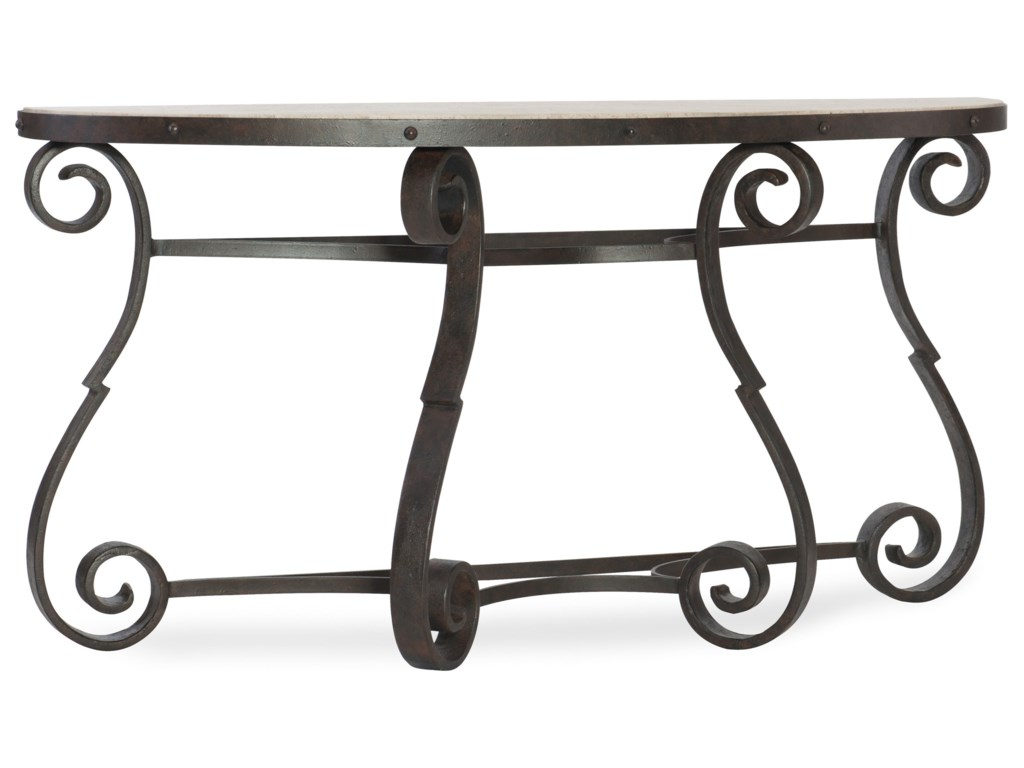 Hooker Furniture Hill CountryLuckenbauch Metal and Stone Demilune Console