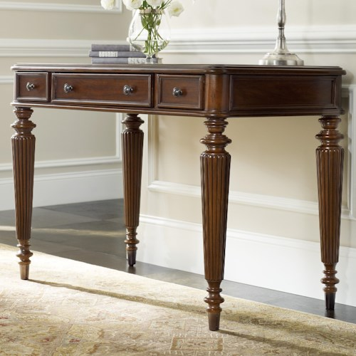 Hooker Furniture Home Office 3 Drawer Leg Desk with Fluted Detail